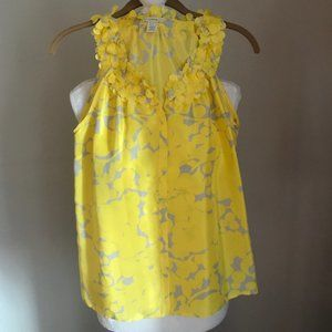 J. Crew Yellow Floral Sleeveless Blouse